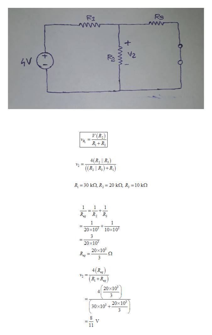 Re R2 4V V(R R R 4(R2    R, ) 2 = ((R   R)+R R 30 k R2 20 kQ, R, = 10 k 1 1 1 1 1 20x103 10x103 3 20x10 20x103 о 3 R 4(R.g (R+R (20x10 4 3 30x10320x103 3 V 11 www