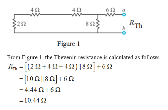 6Ω a 4Q 4Ω RTh b 29 8 Ω; Figure From Figure 1, the Thevenin resistance is calculated as follows RT(2+4+4n)|| 8 2]+6 =[102||82+69 Ω18Ω|+ - 4.44 Ω+6Ω 10.44