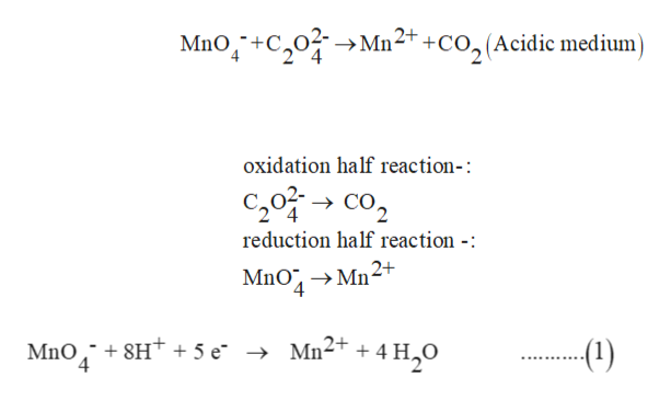 Mno+C0M22+ +CO,(Acidic medium oxidation half reaction-: C20C reduction half reaction -: MnO MnO 8Ht + 5 e 4 - Mn2+ + 4 -(1)