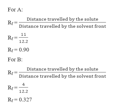 For A Distance travelled by the solute Distance travelled by the solvent front Rf 12.2 Rf 0.90 For B: Distance travelled by the solute Distance travelled by the solvent front 4 Rf 12.2 Rf 0.327