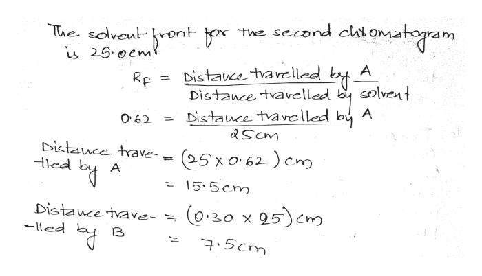 The second chtomatogram The solveu 26.0em A Distaue tvarelled lvent Distance tavelled Distauce tva velled by A &Scm O62 Distauce trave Hled 25x062) em A 15.5cm O.20 x95cm Distauce tave- led 75cm