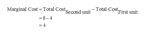 Marginal Cost = Total Costsecond unit-Total Cos First unit 8-4 = 4