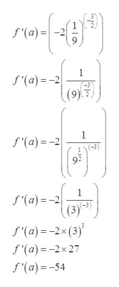 f(a) 1 f'(a)-2 1 f'(a) 2 (-3) 92 1 f'(a)= -2 f'(a)= 2x (3) f'(a)=-2x 27 f'(a)=-54