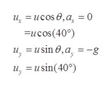 u,= ucos0,a = 0 Fucos(40) = usin 0 ,a, -g u, u, usin(40)
