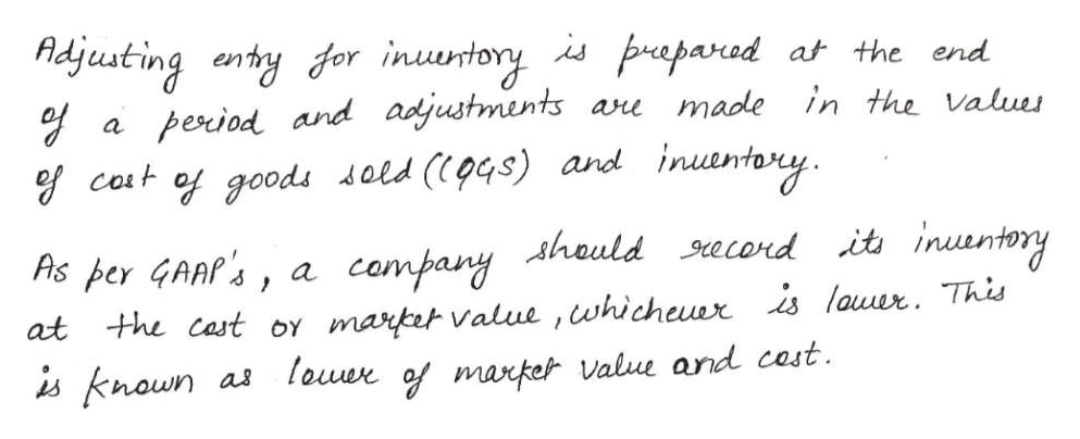 Aidjusting entry for inuntory is parad period and adjustments ae made inuanteny at the end in the Values a cost of goods sold (p4s) and campany Ahould ecord it inuuntory market Value ,whicheuer is lauur. This as louer of market value and cast Ais per GAAP's, a at the cast oY is knoun