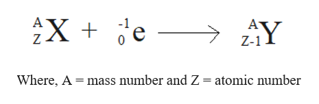 A X A Z Z-1 Where, A mass number and Z= atomic number