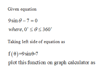 Given equation 9sin0-7 0 where, 0es 360 Taking left side of equation as f(0)-9sine-7 plot this function on graph calculator as
