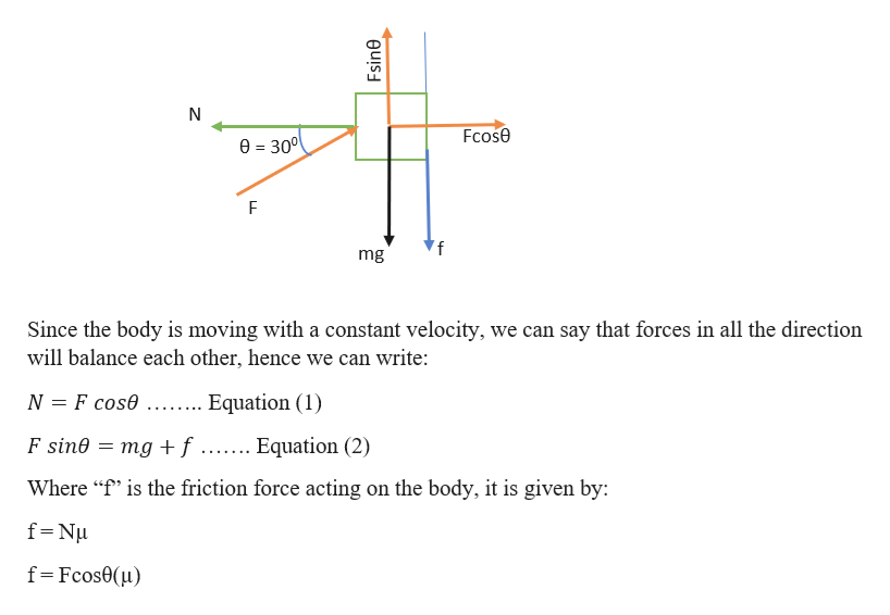 """Fcose 0=300 'f mg Since the body is moving with a constant velocity, we can say that forces in all the direction will balance each other, hence we can write: N F cose Equation (1) = mg +f ....... Equation (2) F sine EEE Where """"f"""" is the friction force acting on the body, it is given by: f Nu f Fcos0(u) Fsine"""