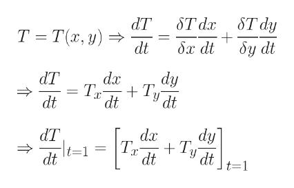ST dy ST dx Т -Та, у) бу dt бх dt dt dy dx dT + Tу dt dt dt dy da dT + Tу dt dt t=1 = dt t=1