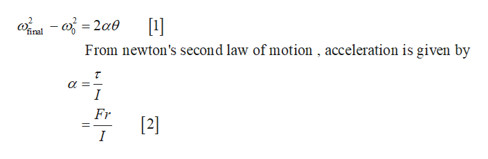 final From newton's second law of motion , acceleration is given by a I Fr [2] I