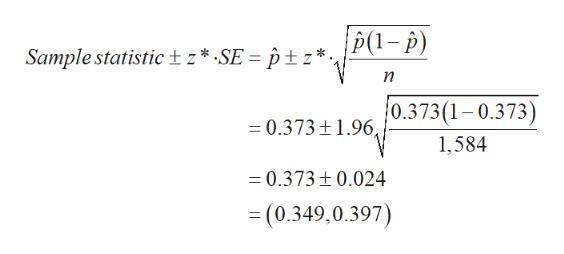 P1-p) Sample statistic tz* SE = ptz*., п 0.373(1-0.373) = 0.373±1.96, 1,584 =0.373 0.024 =(0.349,0.397)