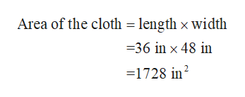 Area of the cloth = length x width 36 in x 48 in 1728 in2