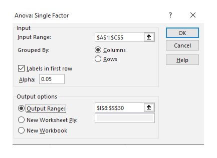 X Anova: Single Factor Input OK Input Range: SAS1:SCS5 Cancel Grouped By: Columns O Rows Help Labels in first row Alpha: 0.05 Output options Output Range: SIS8:SSS30 New Worksheet Ply: O New Workbook