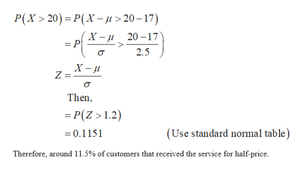 P(X 20) P(X-j>20-17) 20 17 = P 2.5 X- Z = Then =P(Z >1.2) (Use standard normal table) 0.1151 Therefore, around 11.5% of customers that received the service for half-price