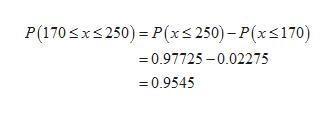 P(170 x250) P(x250)-P(x170) 0.97725-0.02275 =0.9545