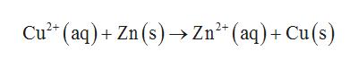 Cu2 (aq)+Zn (s)Zn2(aq)+Cu(s)