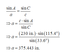 sin A sin C a c sin A a = sin C (230 in.) sin(115.4° sin(33.6°) a 375.443 in a
