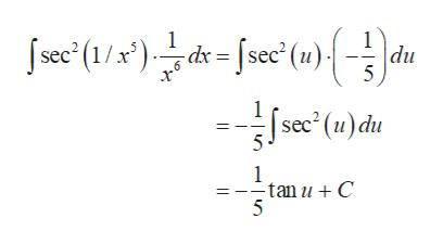 "jse' (1/x"")see (u){ , dx = [sec' (u) du 5 sec2 (u)du 1 tan u C 5 | |"