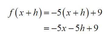 f (x+h)-5x+h)+9 — — 5х —5h +9
