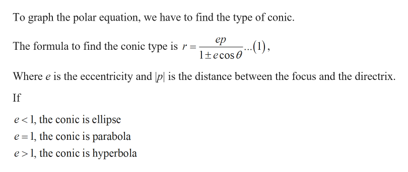 To graph the polar equation, we have to find the type of conic ер ...) The formula to find the conic type is r 1tecos Where e is the eccentricity and p| is the distance between the focus and the directrix If e 1, the conic is ellipse e 1, the conic is parabola e 1, the conic is hyperbola