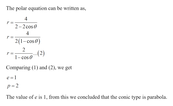 The polar equation can be written as 4 r = 2-2cos 4 r = 21-cos) 2 (2) 1-cos 0 Comparing (1) and (2), we get e =1 p =2 The value of e is 1, from this we concluded that the conic type is parabola