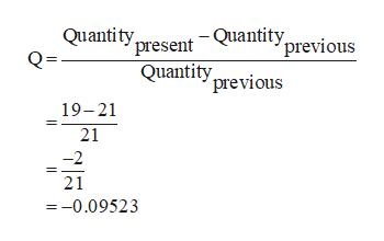 Quantity present -Quantity previous Quantity previous 19-21 21 -2 21 =-0.09523