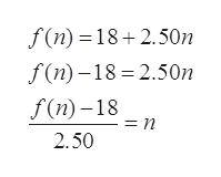 f(n) 18 2.50n f(n)-18 2.50n f(n)-18 = n 2.50