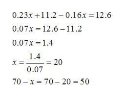 0.23x 11. 0.16x = 12.6 0.07x 12.6 11.2 0.07x 1.4 1.4 20 0.07 70 x 70- 20 = 50