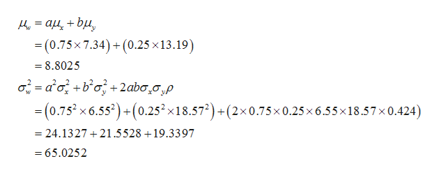 _ (0.75x 7.34)+(0.25 x13.19) 8.8025 02aobo 2aba20,p =(0.752x6.552) +(0.252x18.572) +(2x0.75x0.25x 6.55x18.57x 0.424) + w 24.1327 21.5528 19.3397 65.0252