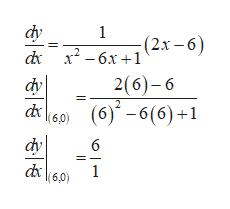 фу 1 d x2-6x+1 (2.r-6) dy - бх +1 2(6)-6 2 (6)-6(6)+1 (6,0) фу d6,0 6 1