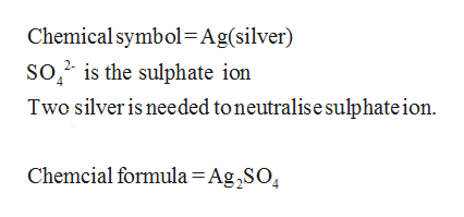 Chemicalsymbol Ag(silver) So2 is the sulphate ion Two silveris needed toneutralise sulphate ion Chemcial formula = Ag,SO4