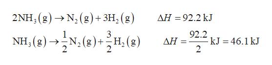 2ΝΗ, ( g) >N, (g)+3H, (g AH 92.2 kJ 92.2 -kJ = 46.1 kJ 2 NH (g)N2(g)+H(g) ΔΗ-