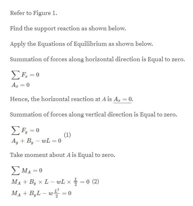 Refer to Figure 1 Find the support reaction as shown below Apply the Equations of Equilibrium as shown below. Summation of forces along horizontal direction is Equal to zero. ΣΗ-0 F 0 A 0 Hence, the horizontal reaction at A is A 0. Summation of forces along vertical direction is Equal to zero. Ση-0 (1) AyBy wL= 0 Take moment about A is Equal to zero. ΣΜΑ 0 0 (2) MABy x L- wL x MA+B,L- 0
