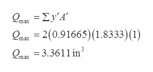 Q.Σν'Α' max О. — 2(0.91665) (1.8333)(1) max Олах — 3.3611 in' max