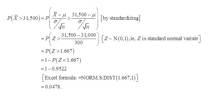 X-31,500-[by standardizing P(X>31,500 P PZ31.500 -3 1,000 [z N(0,1),ie, Z is standard normal variate 300 P(Z 1.667) 1-P(Z<1.667) 1-0.9522 Excel formula: =NORM.S.DIST(1.667,1) 0.0478