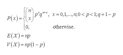piqx0,1. n;0 < p<1;q 1-p P(x) otherwise E(x) np (х)- пр(1 - р)