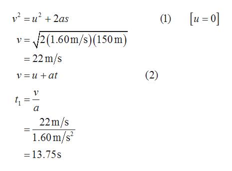 v2u22as u 0] (1) 2(1.60m/s)(150 m) -22 m/s (2) v = u +at 22m/s 1.60m/s 13.75s