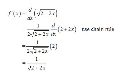 d f(x) 2+2x dx d (2 2x use chain rule 1 2 2 2x d 1 (2) 2 2+2x 1 2+2x