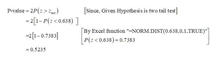 """Since, Given Hypothe sis is two tail test] P-value 2P(z > zt) -21-P(z0.638) ] By Excel function """"=NORM.DIST(0.638,0,1,TRUE)""""] P(z< 0.638) 0.7383 21-0.7383 =0.5235"""