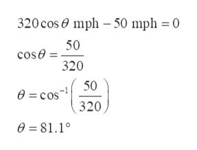 320 cos mph -50 mph 0 50 cose 320 50 e=cos 320 0 81.1°