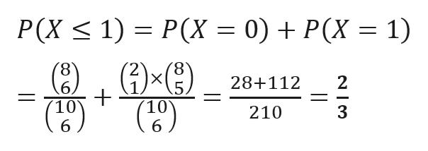 P(X = 0) + P(X P(X 1) 1) 8 6, 10 28+112 .5. 10 6 3 210 6