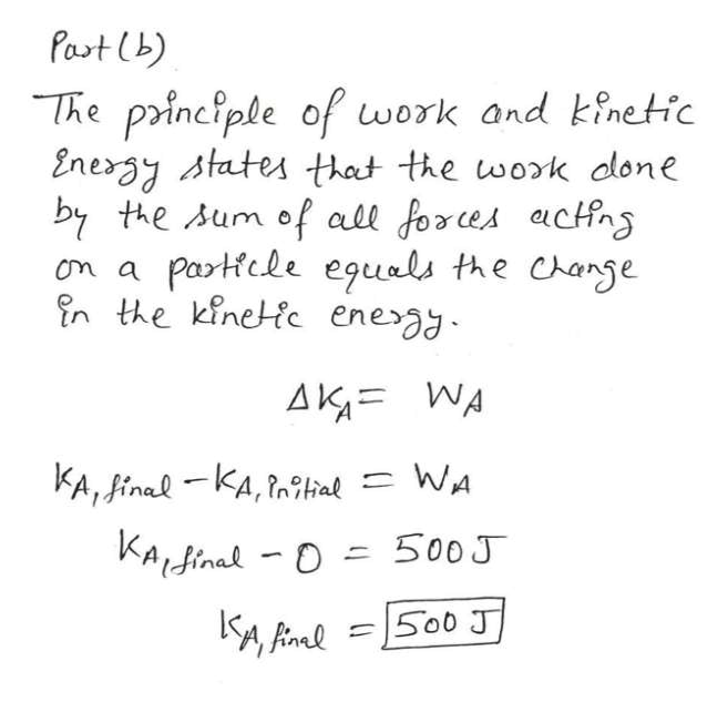 Past (b) The principle of work and kinetic Energy states that the wok done by the Aum of all forces actfn Partfcle eguals the Change n the kinetic ene am a AK WA KA, inal KA,l WA KAdinal-D 500J S00 J 1