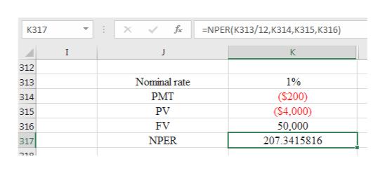 -NPER(K313/12, Kз14, к315, К316) fix К317 I J K 312 Nominal rate 1% 313 РMT ($200) (S4,000) 50,000 314 PV 315 FV 316 NPER 207.3415816 317 510 ww