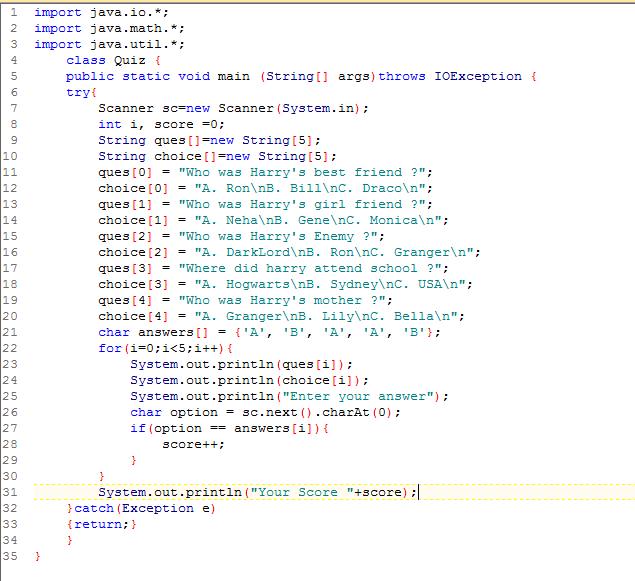Create a quiz program in javascript