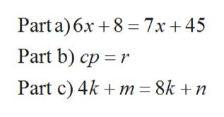 Parta) 6x 8 7x+ 45 Part b) cp r Part c) 4km = 8k +n
