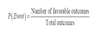 Number of favorable outcomes P( Event)= Total outcomes