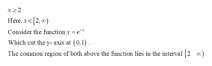 x22 Here, xE 2, ) Consider the function y = e * Which cut the y- axis at (0,1) The common region of both above the function lies in the interval 2 )