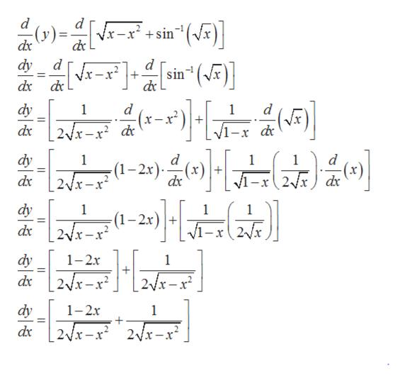 """d x-x'+sin""""(Vx) dx dy d sin (x) Vx-x+ dx dy d x 1 1 x-x dc dy 1 (1-2x) 1 1 (x) 2Vx) dx dy 1 1 1 -2x 2x dy 1-2x 1 2Vx-x2 2/x-x dx dy 1- 1 dx 2x-x 2Vx-x"""