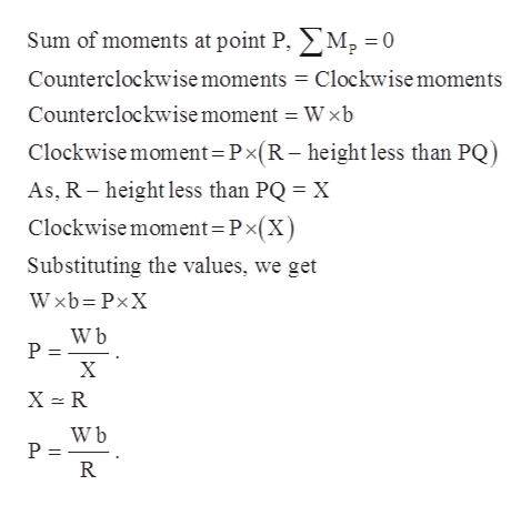 Sum of moments at point P. M2 = 0 Counterclockwise moments Clockwisemoments Counterclockwise moment = Wxb Clockwise moment Px(R- height less than PQ) As, R height less than PQ X Clockwise moment=Px(X) Substituting the values, we get Wxb PxX W b P = X X R W b P = R