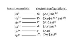 transition metals electron configurations Cu G [Ar]3d10 D [Xe]4f145d10 [Ar]3d5 A [Ar]3d Hg2 Mn2+ C Co3 La3 F [Xe] C [Ar]3d Fe3